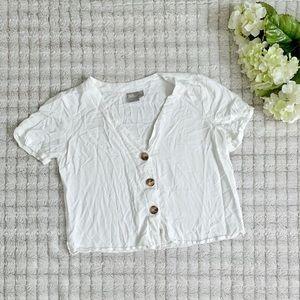 ASOS White Button Crop Blouse